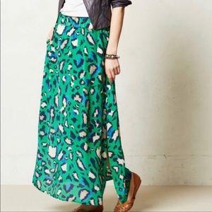Anthro Vanessa Virginia Leopard silk maxi skirt